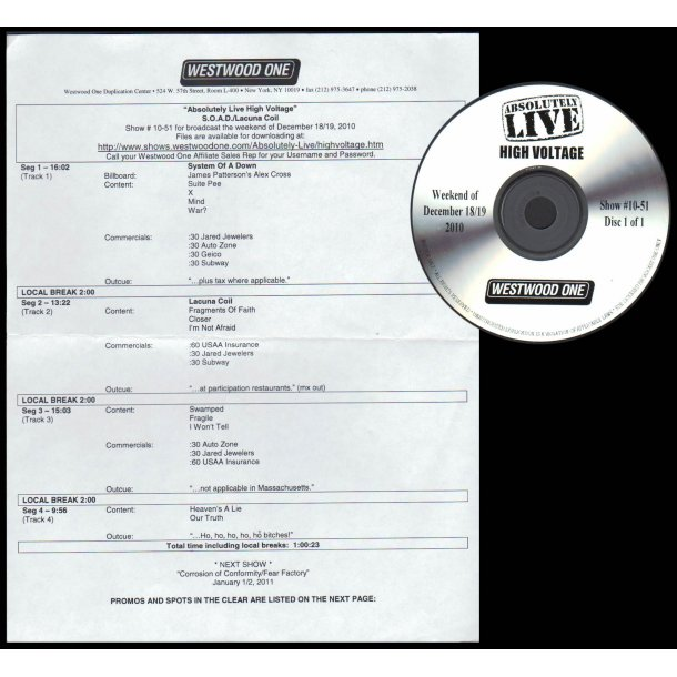 Absolutely Live High Voltage - Show # 10 - 51 - 2010 US Westwood One label Promotional Issue Only Ra