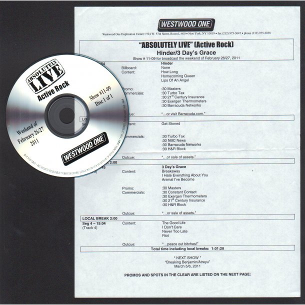 Absolutely Live (Active Rock)- Show # 11 - 09 - 2011 US Westwood One label Radio Show CD